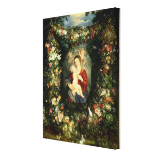 The Virgin and child in a garland of fruit and flo Canvas Print