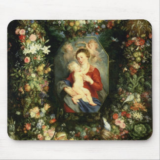 The Virgin and child in a garland of fruit and flo Mouse Pad