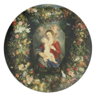 The Virgin and child in a garland of fruit and flo Party Plate