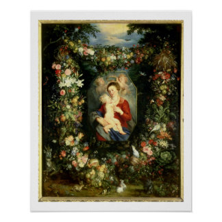 The Virgin and child in a garland of fruit and flo Poster