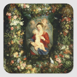 The Virgin and child in a garland of fruit and flo Square Sticker