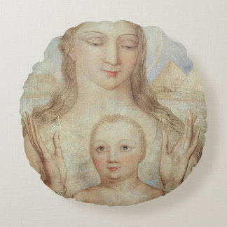 The Virgin and Child in Egypt, 1810 (tempera on pa Round Pillow