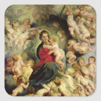The Virgin and Child surrounded Square Sticker