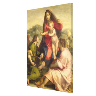 The Virgin and Child with a Saint and an Angel, c. Canvas Print