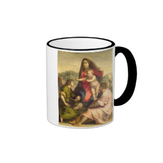 The Virgin and Child with a Saint and an Angel, c. Ringer Coffee Mug