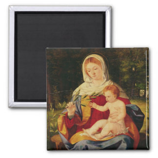 The Virgin and Child with a shoot of Olive 2 Inch Square Magnet