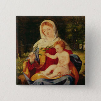 The Virgin and Child with a shoot of Olive Pinback Button