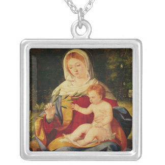 The Virgin and Child with a shoot of Olive Square Pendant Necklace