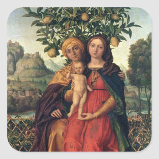 The Virgin and Child with St Anne, 1510-18 Square Sticker