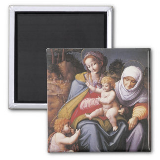 The Virgin and Child with St Elizabeth 2 Inch Square Magnet