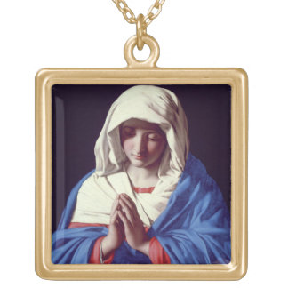 The Virgin in Prayer, 1640-50 (oil on canvas) Gold Plated Necklace