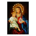The Virgin Mary And Baby Jesus Sacred Heart Poster