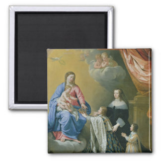 The Virgin Mary gives the Crown and Sceptre 2 Inch Square Magnet