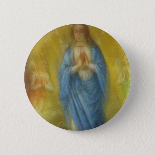The Virgin Mary -   Medieval Period Pinback Button