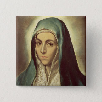 The Virgin Mourning (oil on canvas) Pinback Button