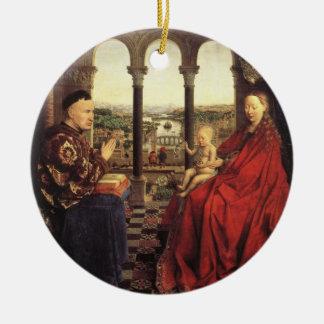 The Virgin of Chancellor Rolin by Jan van Eyck Ceramic Ornament