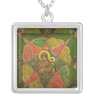 The Virgin of the Burning Bush, from Mount Athos Silver Plated Necklace