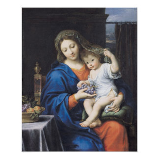 The Virgin of the Grapes, 1640-50 Poster