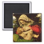 The Virgin of the Green Cushion, 1507-10 2 Inch Square Magnet