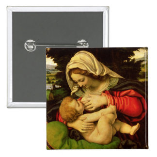 The Virgin of the Green Cushion, 1507-10 2 Inch Square Button