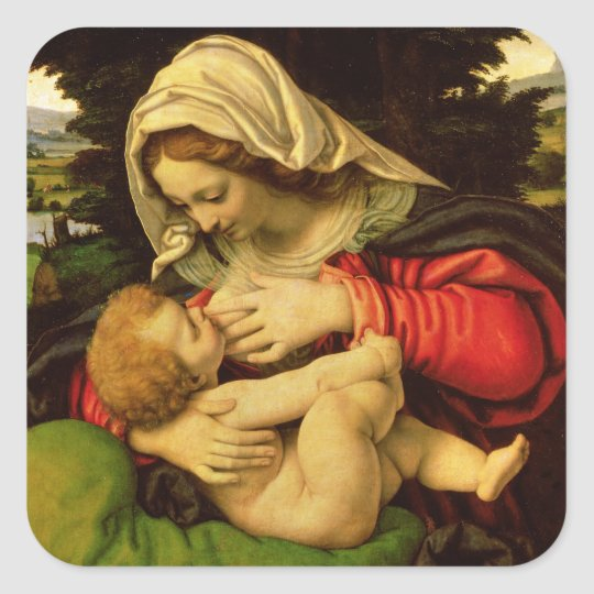 The Virgin of the Green Cushion, 1507-10 Square Sticker
