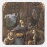 The Virgin of the Rocks , c.1508 Square Sticker