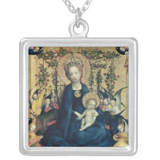 The Virgin of the Rose Bush Silver Plated Necklace