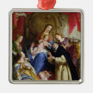 The Virgin Offering the Rosary Metal Ornament