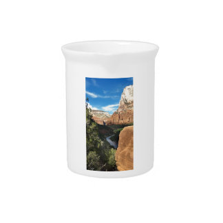 The Virgin River in Zion Canyon Beverage Pitcher