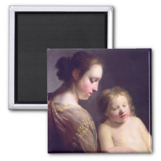 The Virgin Teaching the Infant Christ to Read 2 Inch Square Magnet