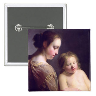 The Virgin Teaching the Infant Christ to Read Button