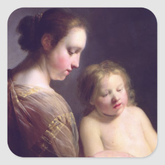The Virgin Teaching the Infant Christ to Read Square Sticker