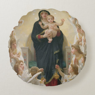 The Virgin with Angels, 1900 Round Pillow
