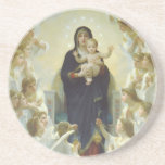 The Virgin With Angels Beverage Coaster