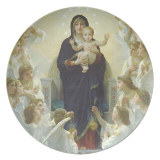 The Virgin with Angels Melamine Plate