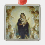 The Virgin With Angels Square Metal Christmas Ornament