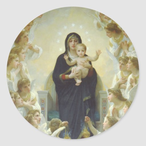 The Virgin With Angels Round Stickers