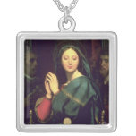 The Virgin with the Host, 1841 Square Pendant Necklace