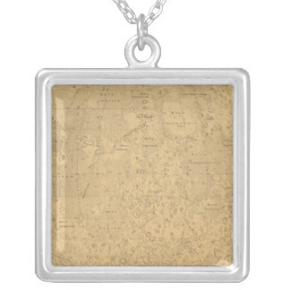 The visible side of the moon surface map square pendant necklace