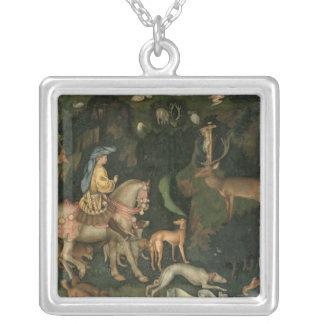 The Vision of St. Eustachius, c.1438-42 Silver Plated Necklace