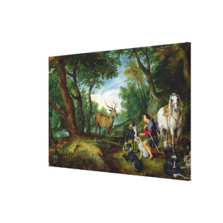 The Vision of St. Hubert, c.1620 (oil on panel) Canvas Print