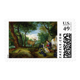 The Vision of St. Hubert, c.1620 (oil on panel) Postage Stamp
