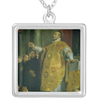 The Vision of St. Ignatius of Loyola Silver Plated Necklace