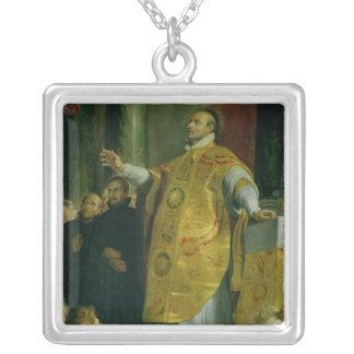 The Vision of St. Ignatius of Loyola Square Pendant Necklace