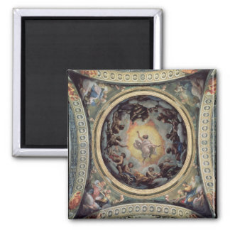 The Vision of St. John on Patmos, 1520-23 (fresco) 2 Inch Square Magnet