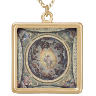 The Vision of St. John on Patmos, 1520-23 (fresco) Gold Plated Necklace