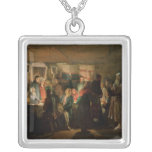 The Visit of a Sorcerer to a Peasant Wedding Square Pendant Necklace