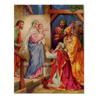 The Visit of the Wisemen Christian Christmas Art Poster
