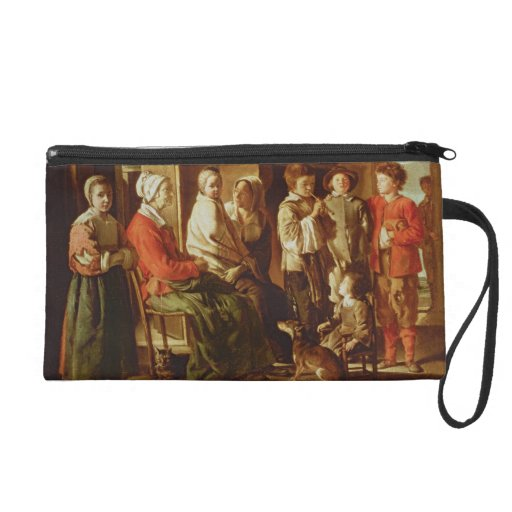 The Visit to the Grandmother (oil on canvas) Wristlet Clutch