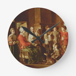 The Visit to the Grandmother (oil on canvas) Round Wall Clock